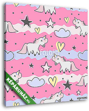 Cute hand drawn unicorn seamless pattern for kids and baby fashion textile print - vászonkép 3D látványterv