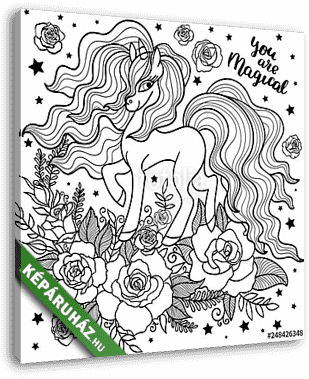 Beautiful unicorn among roses. Black and white. For coloring. For design of prints, posters, tattoos, etc. Vector - vászonkép 3D látványterv