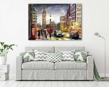 oil painting on canvas, street view of london. Artwork. Big ben., Premium Kollekció