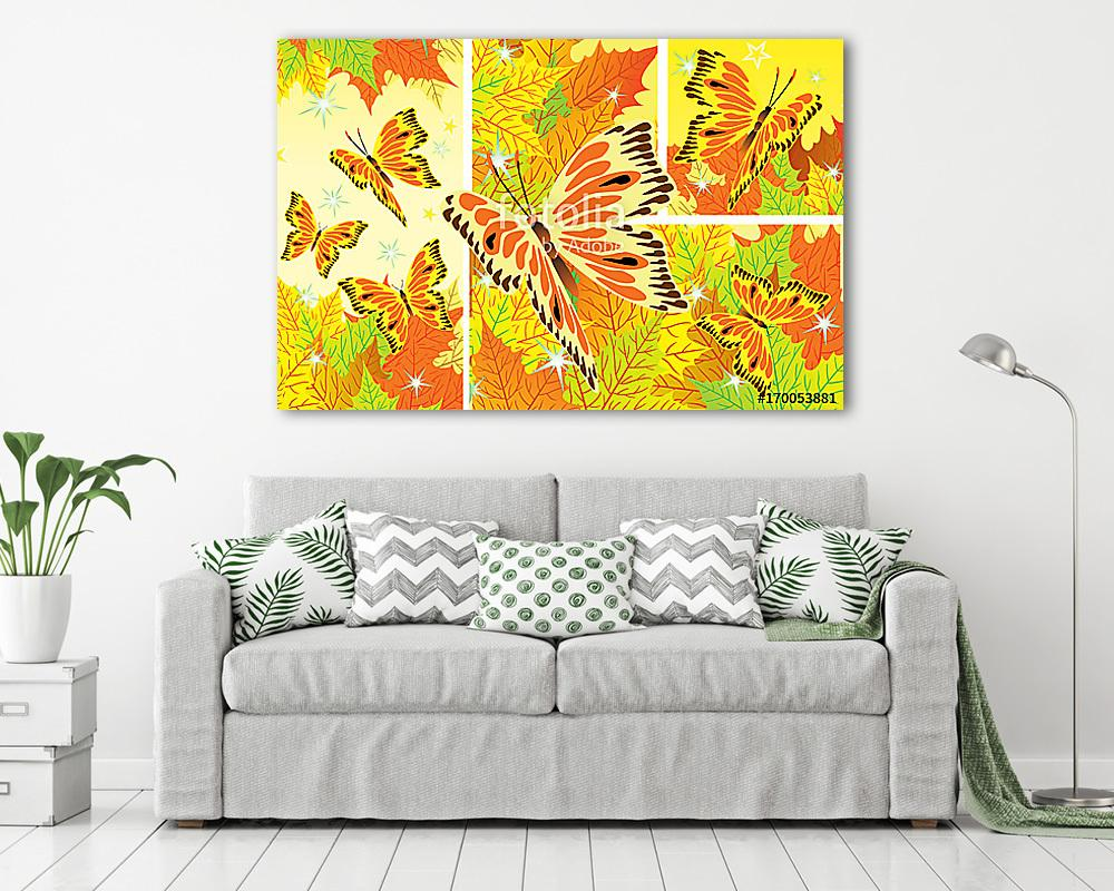 Autumn background with fall leaves and butterflies, Premium Kollekció