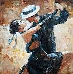 tangó táncosok digitális festészet, tangó táncosok (id: 10600) vászonkép óra