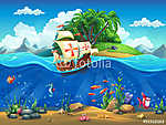Rajzfilm víz alatti világ halakkal, növényekkel, szigettel és ka (id: 11200) tapéta