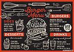 Burger restaurant menu. Vector food flyer for bar and cafe. Desi (id: 13700) vászonkép