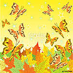 Autumn background with fall leaves and butterflies (id: 13800) vászonkép