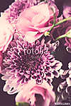 Bouquet of pink flowers closeup, eustoma and chrysanthemum (id: 14000) poszter