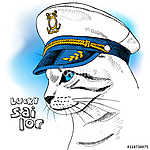 Portrait of a cat in sailor's cap on blue background. Vector ill (id: 14500) falikép keretezve