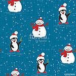 Karácsonyi pingvin és hóember (id: 16200)