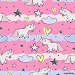 Cute hand drawn unicorn seamless pattern for kids and baby fashion textile print (id: 19100) falikép keretezve