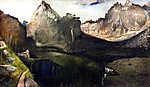 Leonardo da Vinci:  A Nagy Tarpatak-völgye a Tátrában (1904-1905) (id: 20300) vászonkép óra