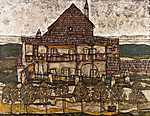 Egon Schiele: Ház zsindelytetővel (id: 3100) többrészes vászonkép