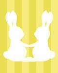 DIY - Húsvéti nyuszipár, sárga csíkos háttérrel (id: 4100) poszter