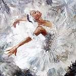 olajfestmény, lány balerina. rajzolt aranyos ballerina tánc (id: 10601)