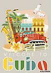 Kuba látványosság és látnivalók - utazási képeslap fogalom. Vect (id: 12701) falikép keretezve