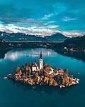 Bled tó, Szlovénia - Drónfelvétel (id: 17601) falikép keretezve