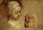 Anthony van Dyck : Elizabeth hercegnő és Anna hercegnő, I. Károly lánya (id: 19501) tapéta