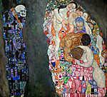 Gustav Klimt: Élet és halál (id: 19801) vászonkép óra