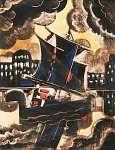 Scheiber Hugó: Hajó esti fényben (id: 21401) vászonkép