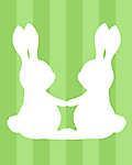 DIY - Húsvéti nyuszipár, zöld csíkos háttérrel (id: 4101) poszter