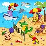 állatok nyugszik a strandon - vektoros illusztráció, eps (id: 4501) vászonkép