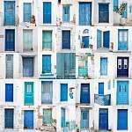A görög ajtók kollázsai: kék, türkiz, zöld (id: 5001)