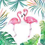 Akvarell kártya levélkerettel és két flamingóval. Kézzel rajzolt (id: 11602) vászonkép óra