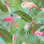 Tropical Seamless Vector Flamingo and Floral Summer Pattern. For vászonkép, poszter vagy falikép