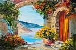 oil painting - house near the sea, colorful flowers, summer seas (id: 13902) vászonkép
