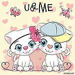 Two cute Cartoon Kittens (id: 19002) falikép keretezve