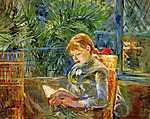 Berthe Morisot: Olvasó kislány (id: 2002) falikép keretezve