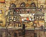 Egon Schiele: Házak a folyó partján (id: 3102) többrészes vászonkép