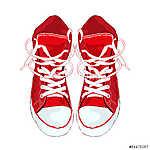 Piros cipők fehér alapon. Vektoros illusztráció. (id: 4302) poszter