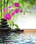 összetett bambusz-lila orchidea-fekete kövek (id: 4602) vászonkép óra