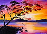 színes naplemente a tónál, olajfestmény, művészeti akvarell (id: 4902)