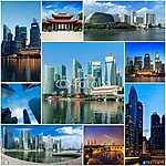 Mozaik kollázs története a szingapúri képekről (id: 5902) vászonkép óra