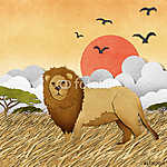 Az oroszlán újrahasznosított papír alapon készült (id: 6202) falikép keretezve