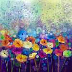 Absztrakt virágos vízfestmény. Kézi festék Fehér, sárga, P (id: 9002) tapéta