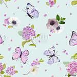 Virágzó hortenzia lepkékkel (id: 12603)
