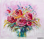 Oil painting a bouquet of roses . Impressionist style. (id: 16103) tapéta