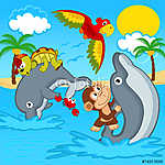 állatok lovaglás a delfinek - vektoros illusztráció, eps (id: 4503) többrészes vászonkép