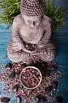 Buddha bambusz, masszázs kövek és virágcsészék (id: 5503) vászonkép óra