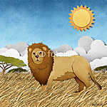 Az oroszlán újrahasznosított papír alapon készült (id: 6203) falikép keretezve
