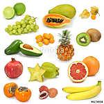 egzotikus gyümölcsök gyűjteménye fehéren (id: 10704)