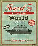 A Vintage Travel világszerte plakáttervezés (id: 11804) vászonkép