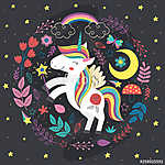 poster with magic night unicorn - vector illustration, eps (id: 18804) tapéta