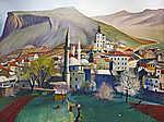Csontváry Kosztka Tivadar: Tavasz Mosztárban (színverzió 1) (id: 20304) többrészes vászonkép