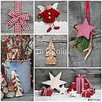 Karácsony - Természetes fa dekoráció - vörös (id: 5004) többrészes vászonkép
