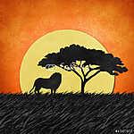 Az oroszlán újrahasznosított papírból készült (id: 6204) falikép keretezve