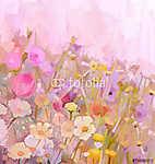 Virágok terepi olajfestmény, puha színpompás stílus (id: 9004) vászonkép óra