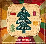 Vintage illusztráció karácsonyfa (id: 11905) vászonkép