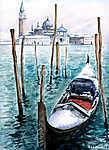 Gondola in winter-watercolor.My own artwork. (id: 14805)